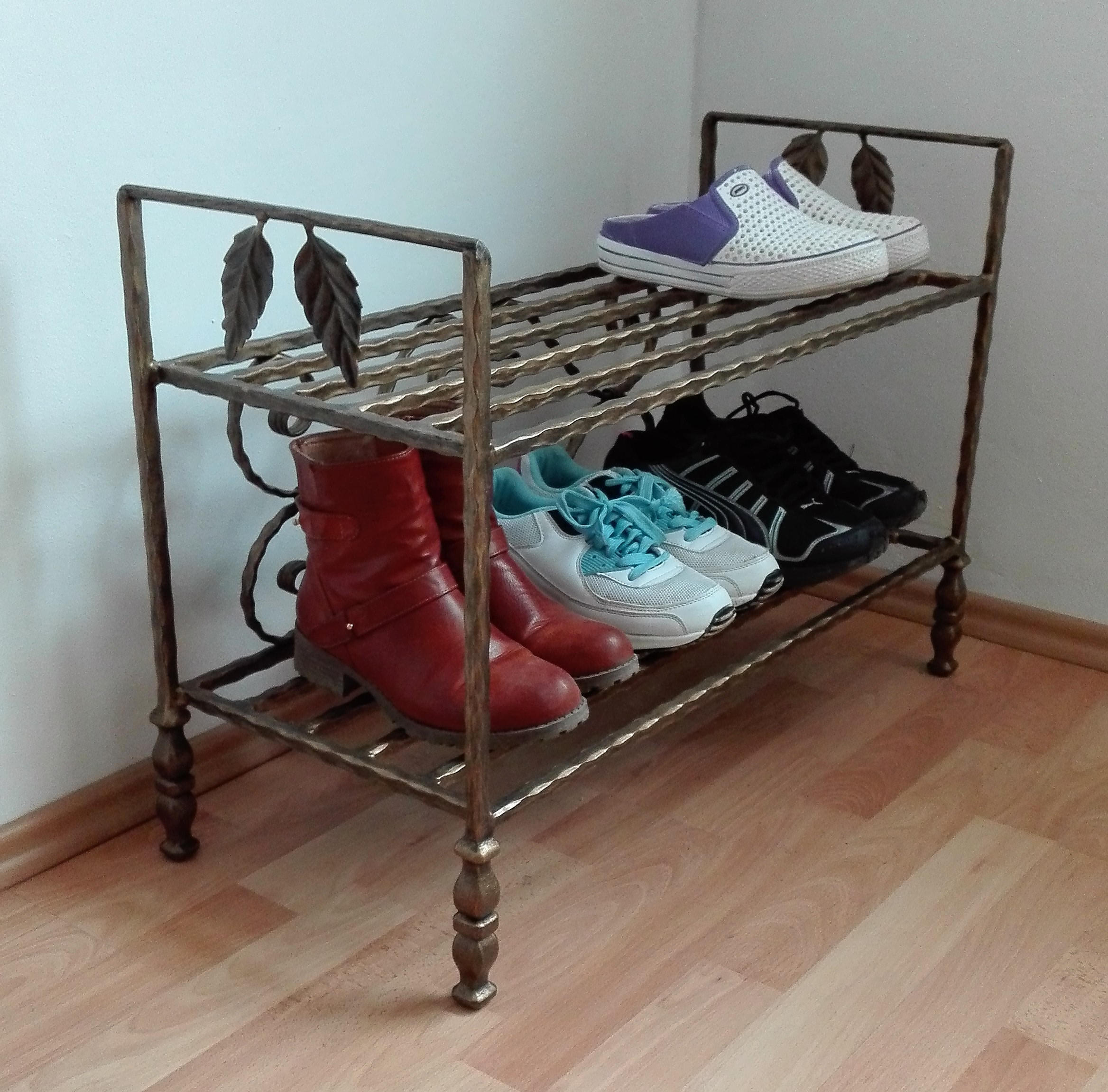 Kovaný botník, Furniture Shoe Rack Organiser Vintage Handmade Shoe Bench Hallway Unit Shoe Storage Stand Schuhregal Organizer Vintage Handgefertigte Schuhbank Flur Einheit Schuhablage Ständer Möbel