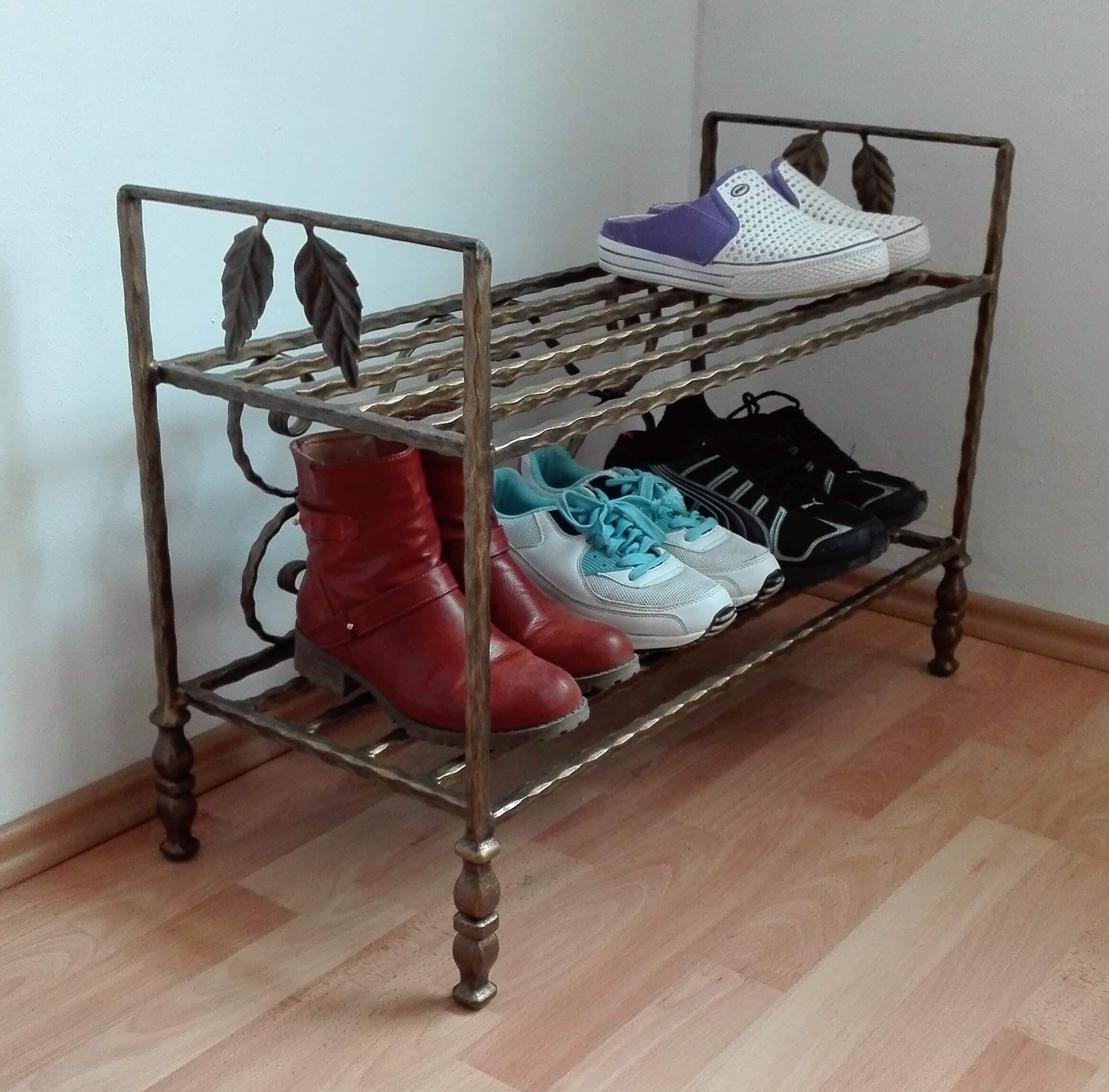 Kovaný botník, Furniture Shoe Rack Organiser Vintage Handmade Shoe Bench Hallway Unit Shoe Storage Stand Schuhregal Organizer Vintage Handgefertigte Schuhbank Flur Einheit Schuhablage Ständer Möbel