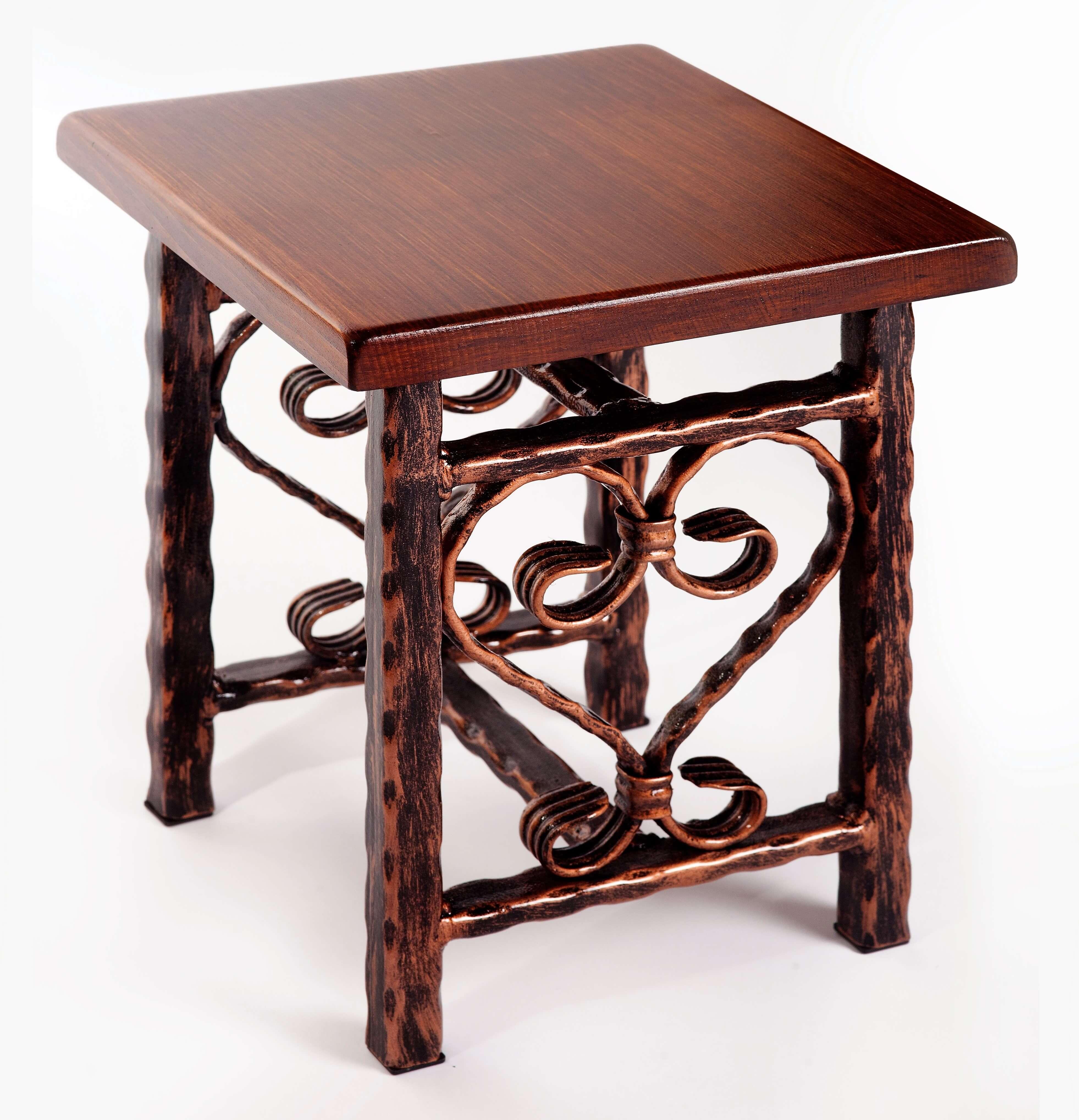 Kovaný stolček, Kovaný stoleček, Stolček pod vety, Kovaný nábytok, Kovaný nábytek, Stoleček pod květiny, METALRUSTIC, Forged table, Geschmiedeter Tisch,