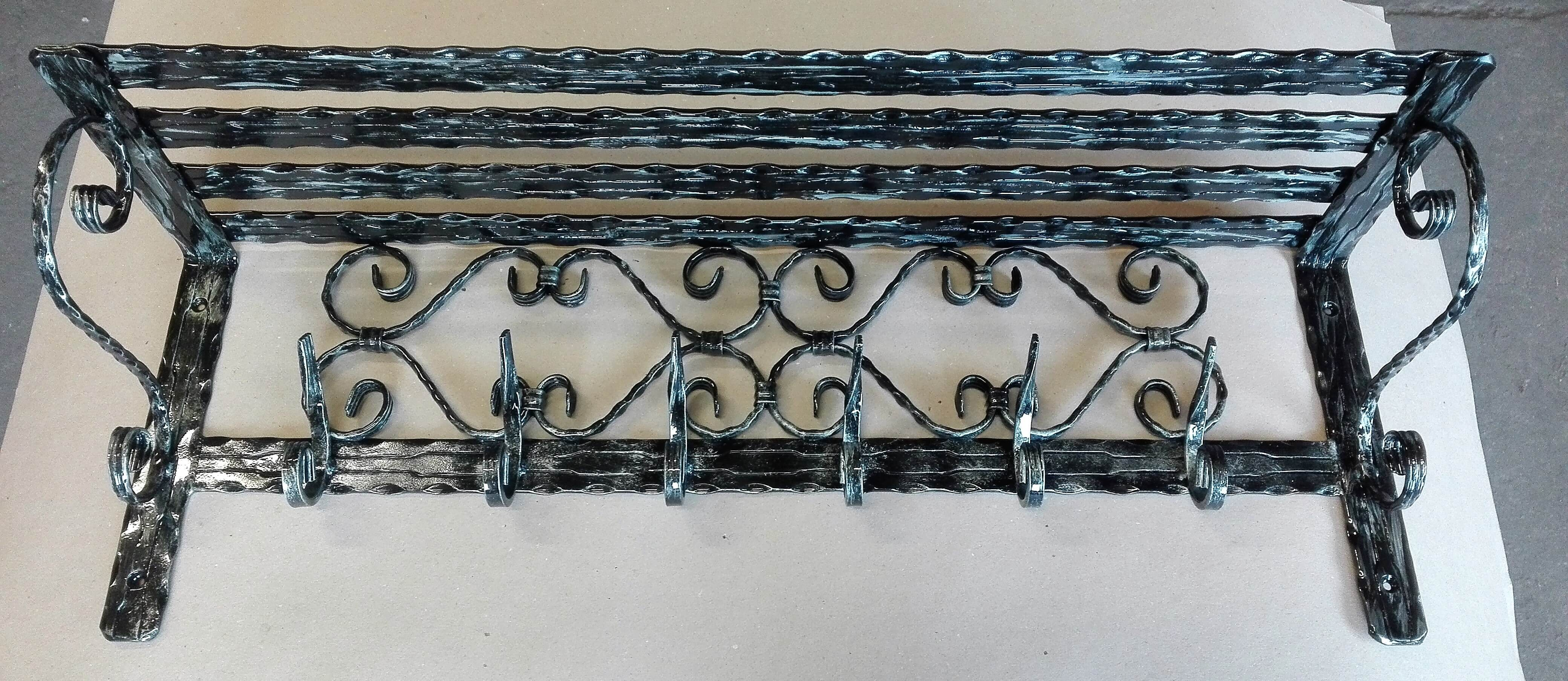 kovaný vešiak, kovaný věšák, handmade, furniture, rustic, metal, iron, Kleiderablage, geschmiedeter Aufhänger, Hakenregal, Porte-manteau, Étagère crochet, Appendiabiti, Scaffale, Perchero, Estante de gancho